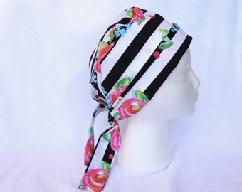 Scrub Caps for Women - floral stripes, black and white