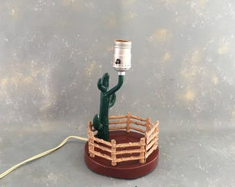 Vintage Metal Western Lamp, Cowboy decor, cactus accent lamp, desert,
