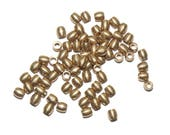 Solid raw brass barrel beads 5 x 5 mm