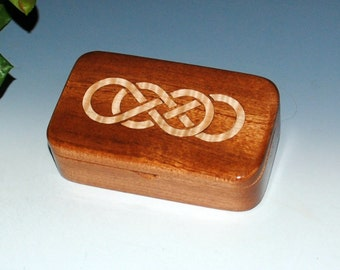Handmade Double Infinity Inlaid Maple & Mahogany Handmade Wooden Treasure Box-Small Wood Box, Revenge Box, Jewelry Box, Celtic Knot Wood Box