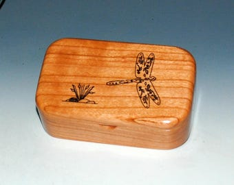 Laser Engraved Dragonfly Cherry Handmade Wooden Trinket Box - Desk Or Gift Box, Business Card Box by BurlWoodBox - Small Wood Treasure Box