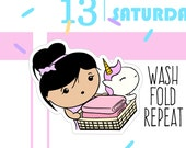 Wash, Fold, Repeat - Busy Bea Laundry Planner Stickers