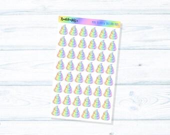 Pastel Rainbow Unicorn Poop Planner Stickers - MINI SHEET
