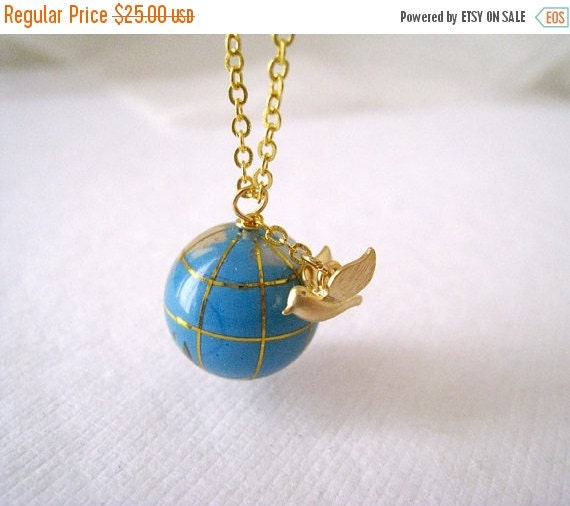 Holiday Sale Global Traveler. Matte Gold Bird Charm with Globe Bead Necklace