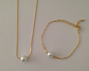 3 Floating Pearl Necklace and Bracelet Jewelry Sets and Bridal Earrings  - Reserved for Rebecca