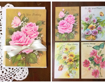 Vintage Birthday Cards and Envelopes Floral Illustrations 1980s Greeting Unused Set of 4