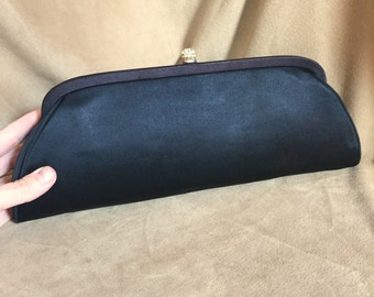 Vintage 50's Black Clutch Purse, Black Evening Bag, Black Satin Clutch, 50's, Dressy, Prom, Rockabilly, Pin Up