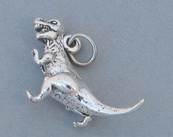 TYRANNOSAURUS T- REX Dinosaur .925 Sterling Silver Charm 1208