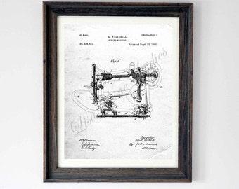 Digital download, Sewing Machine Patent drawing, wall art print