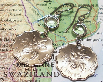 Swaziland, Authentic Coin Earrings --- Native Flower --- African Garden - World Traveller - Funny Money