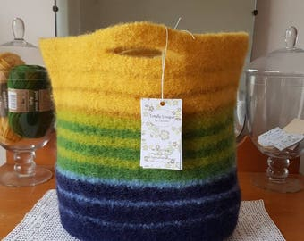 Gold, Green and Blue Felted Bag
