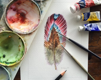 Rainbow feather -Original watercolour painting