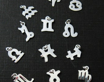 Silver Zodiac Charms - 925 Sterling Silver Charm - Tiny Zodiac Horoscope Charms, High Polish Sterling Silver ( 8-10mm ) 201211