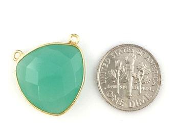 Bezel Gemstone Connector Link- Peru Chalcedony - Gold Vermeil- Faceted Gemstone Pendant-Large Trillion Shaped -18mm- Sku: 209104-PER (1pc)