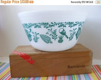 20% OFF MOVING SALE Vintage Federal Kitchen Aids, Teal Utensils Pattern, Mixing Nesting Bowl, 8 Inch, Federal Antique Kitchen Aids, Utensils