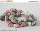 Christmas sale SALE: Pink and grey candy stripe  OOAK multi strand bracelet