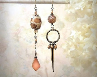 Distant Origin - OOAK Earthy Gemstone Earrings Asymmetrical Earrings Rustic Tribal Assemblage Earrings Caramel Chalcedony Bohemian Earrings