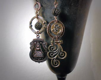 Thai Buddha Earrings OOAK Asymmetrical Earrings Rustic Tribal Assemblage Copper Bronze Buddhist Amulet Swirl Spiral Earrings Zen Jewelry