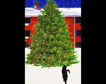 Cat Christmas Cards, Handmade, Cat Lover Gift, Black Cat Art, Seasons Greetings, Holiday Greeting Cards, Deborah Julian