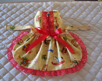 Handmade Small Christmas Dog Dress Canes Bears Red Lace Bow Clothing Pets