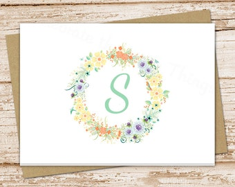 floral initial note cards . monogram notecards . flower wreath . folded personalized stationery . stationary . botanical card . set of 8