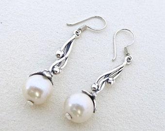 Pearl Earrings, White Pearl Earrings, Sterling Silver Earrings, Silver Earrings Dangle, Unique Earrings, Bridesmaid Earrings, Unique Jewelry