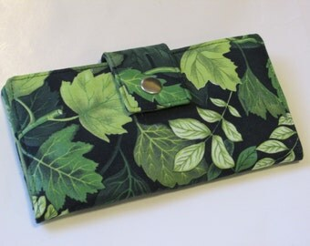 Handmade women black Wallet - Green leaf wallet - Bosque- forest - ready to ship - Gift ideas for her -