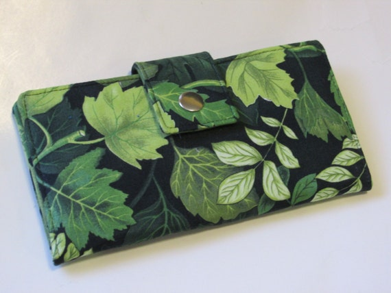 Handmade women black Wallet - Green leaf wallet - Bosque - forest - custom order - Gift ideas for her - ID clear pocket