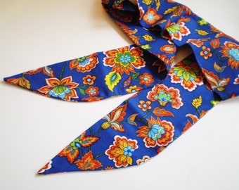Blue Orange Boho Head Scarf, Fall Boho Head Scarf, Royal Blue Floral Head Scarf, Blue Bohemian Head Scarf
