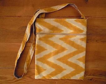 silk ikat bag, yellow white chevron, cross body bag