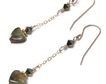 8mm heart earrings on chain Labradorite sterling silver gold-filled Austrian Swarovski crystal pierced or clip-on