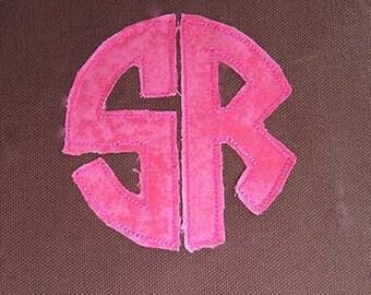 Raggy 2 Letter Circle Monogram Applique Digital Embroidery Machine Design Includes 4 Sizes