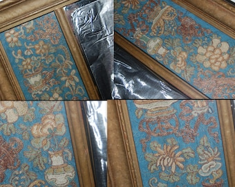 Rare English /French Stumpwork Embroidered Panels Mirror Frame Decorated w/ Exotic Flowers in Color Silks, Bullion Thread & Raised Stitching