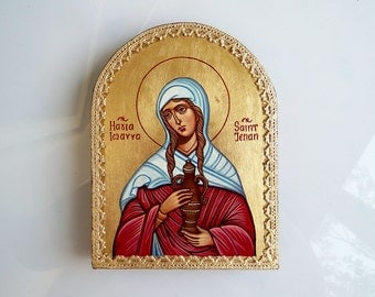 St Joanna The Myrrhbearer, St Jehan Original Handpainted Icon, 6 by8 inches