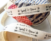 Twill, Half Inch Ribbon, Spool - Flat or Folded, CUSTOM Printed Sew-in Fabric Label (natural and white)