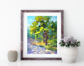 Impressionist tree painting, Oil Landscape Painting - Provence oak tree with shadows and light, Woodland painting, 7x10inch, gift for him,