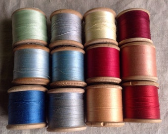 Vintage French Bobbins, Wooden Cotton Reels Sewing Threads. 12pc Blues Greens Pinks Yellow & Reds Vintage Haberdashery