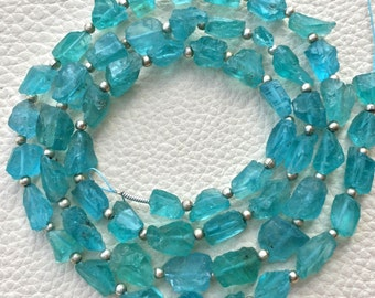 Brand New,Rare Amazing Natural APATITE Hammered Rock Nuggets Full Drilled ,9-7mm,Full 8 Inch Strand,Amazing Rare Item