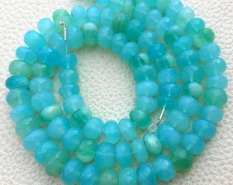 RARE,Brand New, Full 8 Inch Strand, PERUVIAN Blue OPAL Faceted Rondelles,8-9mm Amazing Item at Low Price