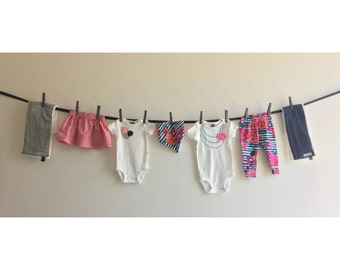 Girl Baby Shower Decorations, Navy and Pink Clothesline, Necklace Onesies, baby leggings, Burp Cloths, Bib, with ribbon and clothespin