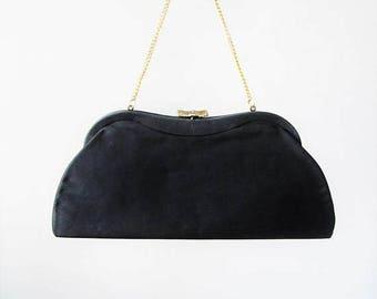 40% OFF SALE Vintage 1950's Black Clutch Purse / Midnight Crepe Classic Handbag Formal Evening Bag