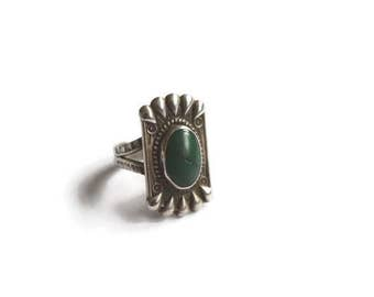 Vintage Sterling Silver Ring With Turquoise c.1920s