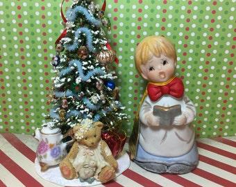 Vintage 1970's Christmas Jasco Carol Singer Bell Decoration and artisan made miniature Christmas tree
