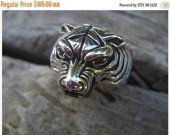 ON SALE Tiger ring in sterling silver with red cz's in the eyes