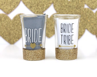 Shot Glasses - Shot Glass Set - Bridesmaid Proposal Gifts - Bachelorette Party - Bridesmaid Gifts - Bride Tribe Glasses - Bride Tribe - Gift