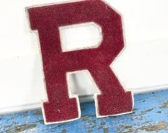 Vintage Varsity Letter R Maroon Red