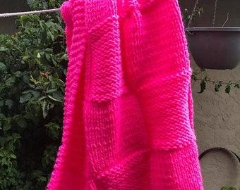 Spring Sale Knit crib baby blanket acrylic yarn (Hot Pink)