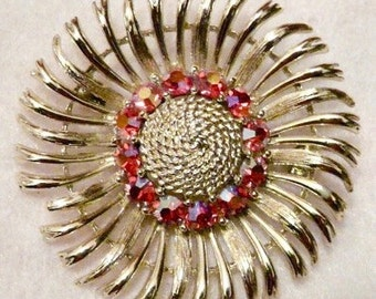 Lisner Flower Head Brooch With Red Rhinestones Jewelry Pin
