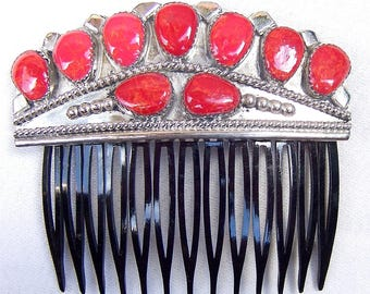Vintage Navajo coral hair comb Wilson Begay Native American hair accessory decorative comb hair jewelry hair ornament