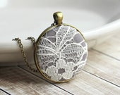Ivory Lace Pendant, Gift for Women, Cotton, Anniversary Gift, Gray Bridesmaid Necklace, Gray Wedding Lace Necklace Unique Bridesmaid Jewelry